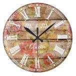 Mr Mrs Rustic Farmhouse Floral Wood Roman Numeral Large Clock