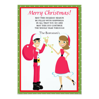 Mr. & Mrs. Santa Christmas Card Personalized Invitations