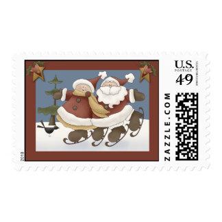 Mr. & Mrs. Santa Stamps