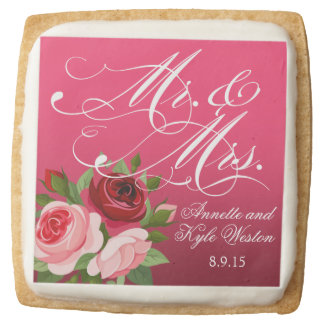 Mr. & Mrs. Script Typography pink Roses Floral Square Shortbread Cookie