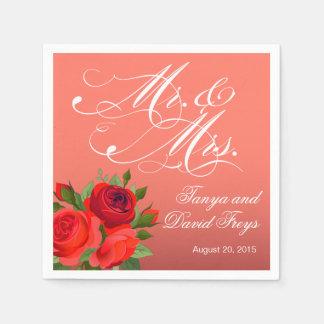 Mr. & Mrs. Script Typography Roses Floral coral Paper Napkins