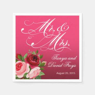 Mr. & Mrs. Script Typography Roses Floral fuchsia Napkin