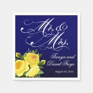 Mr. & Mrs. Script Typography Roses Floral navy Paper Napkin