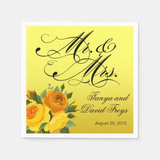 Mr. & Mrs. Script Typography Roses Floral yellow Napkin