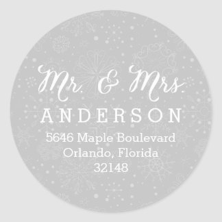 Mr. & Mrs. Silver Snowflakes Christmas Label