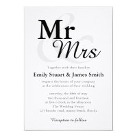 Mr &Mrs Simple Elegant Typography Wedding Card
