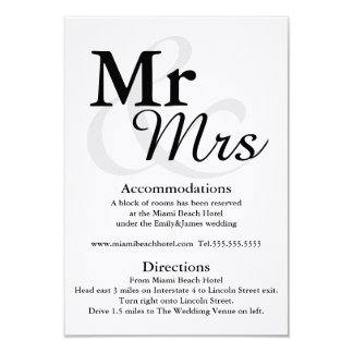 Mr&Mrs Simple Elegant Typography Wedding Details Card