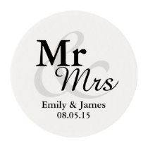 Mr&Mrs Simple Elegant Typography Wedding Favor Edible Frosting Rounds