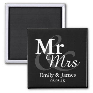 Mr&Mrs Simple Elegant Typography Wedding Favor Magnet