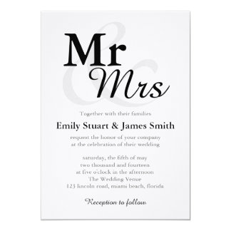 Mr &Mrs Simple Elegant Typography Wedding Invitation