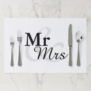 Beach Themed Mr &Mrs Simple Elegant Typography Wedding Placemat