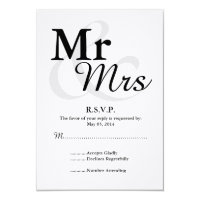Mr&Mrs Simple Elegant Typography Wedding RSVP Card