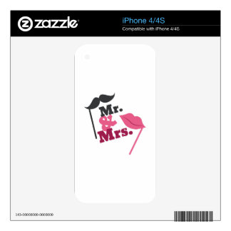 Mr & Mrs Decal For iPhone 4