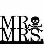 "Mr &amp; Mrs Skull Cake Topper Cutout<br><div class=""desc"">Decorate your wedding cake with this simple,  yet daring cake topper from Kustom By Kris. It reads &quot;Mr.&quot; and &quot;Mrs.&quot; with a skull and crossbones between them. Contact me to have this cake topper customized with your wedding colors.</div>"