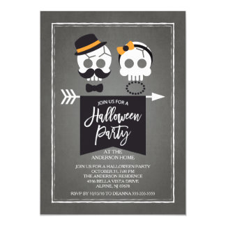 Mr. & Mrs. Skulls Halloween Party Card