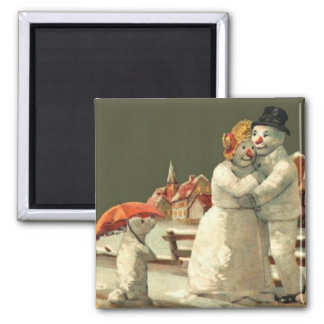 Mr & Mrs Snowman Magnet