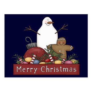 Mr & Mrs Snowman Postcard