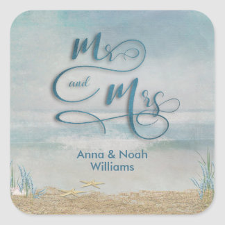 Mr. & Mrs. starfish in ocean watercolor Square Sticker