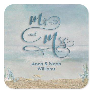 Beach Themed Mr. & Mrs. starfish in ocean watercolor Square Sticker