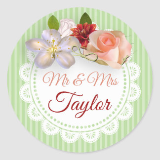 Mr & Mrs Stickers Sage Green  and Coral Floral
