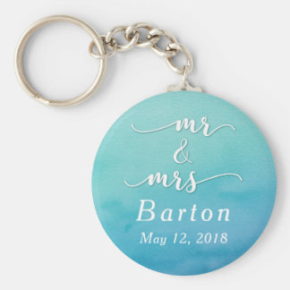 """Mr & Mrs"" Teal & Blue Wedding with Date Keychain"