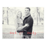 Mr & Mrs Thank You | Coral Postcard