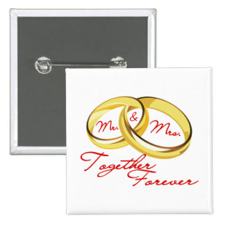 Mr & Mrs Together Forever Wedding Rings Button