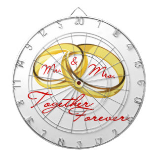 Mr & Mrs Together Forever Wedding Rings Dartboard With Darts