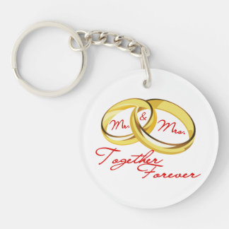 Mr & Mrs Together Forever Wedding Rings Keychain