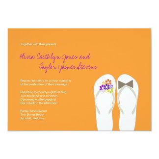 Mr & Mrs Tropical Flip Flops Beach Wedding Invite