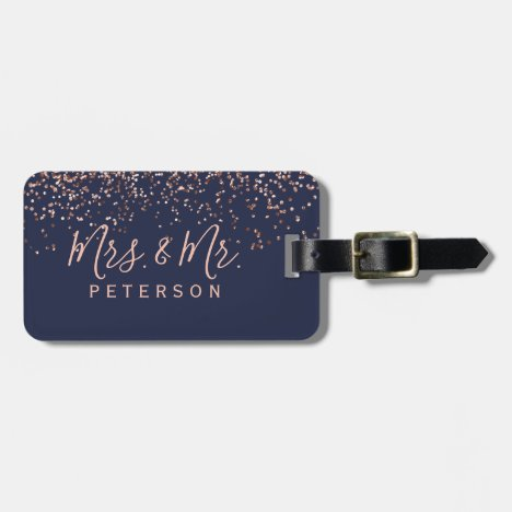 Mr & Mrs  typography rose gold confetti navy blue Bag Tag
