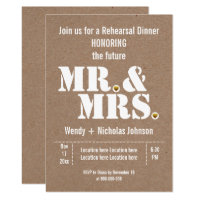 Mr & Mrs typography rustic wedding rehersal dinner Card
