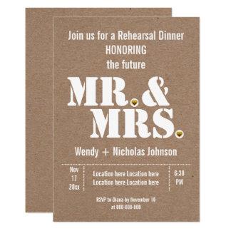 Mr & Mrs typography wedding rehearsal dinner Card