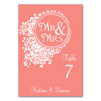 Mr & Mrs Vintage Coral Personalized Table Card