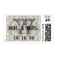 Mr. & Mrs. Vintage Lace Rustic Wedding Postage