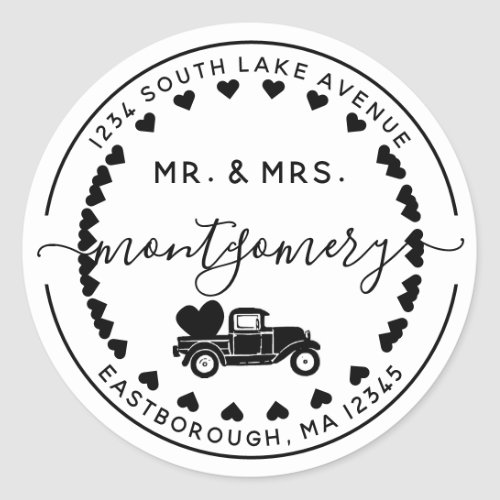 Mr  Mrs Vintage Truck 10 Letter Return Address Classic Round Sticker