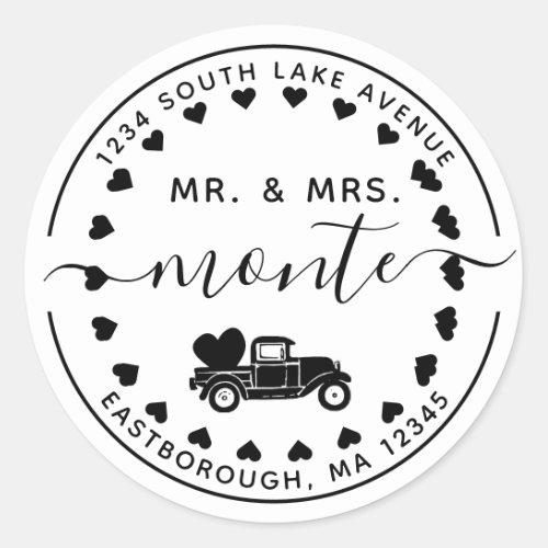 Mr  Mrs Vintage Truck 5 Letter Return Address Classic Round Sticker
