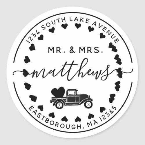 Mr  Mrs Vintage Truck 8 Letter Return Address Classic Round Sticker
