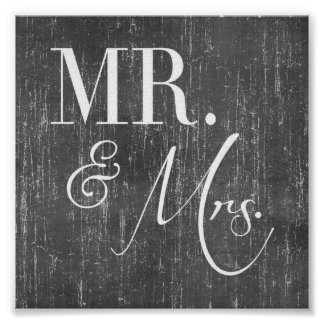 Mr. & Mrs. Wall Sign Posters