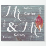 "Mr & Mrs Wedding/Anniversary Personalized Names Wrapping Paper<br><div class=""desc"">A beautiful fall image of a wooden fence and Autumn leaf.  Mr. & Mrs. in large cursive print with first name personalization.</div>"