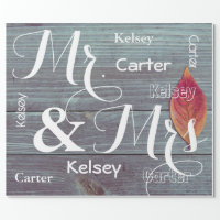 Mr & Mrs Wedding/Anniversary Personalized Names Wrapping Paper