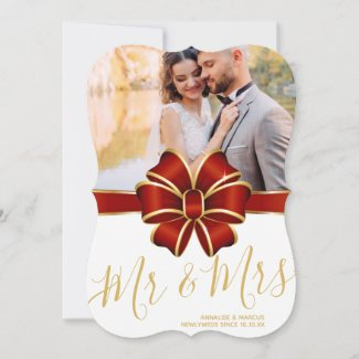 Mr & Mrs Wedding Announcement Christmas Photo