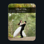 """Mr &amp; Mrs Wedding Couple Photo Mini Magnet<br><div class=""""desc"""">Add your beautiful wedding picture to this lovely refrigerator magnet to remember that special day! Add your own photo and date in the customization area.</div>"""
