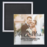 "Mr & Mrs | Wedding | Custom Photo Square Magnet<br><div class=""desc"">Mr & Mrs 