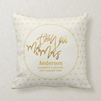 Mr & Mrs Wedding Decor Gift Gold Love Hearts Throw Pillow