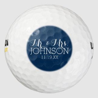 Mr & Mrs Wedding Favor Solid Color Navy Blue Pack Of Golf Balls