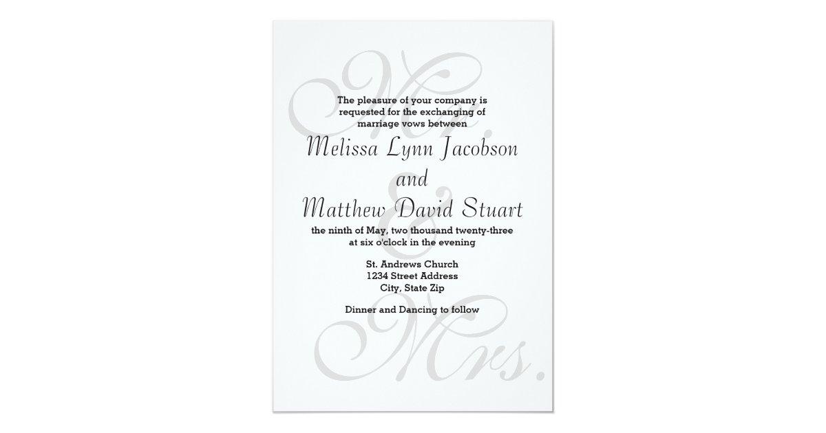 Mr And Mrs Wedding Invitation Wording: Mr. & Mrs. - Wedding Invitation