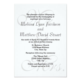 Mr. & Mrs. - Wedding & Reception Invitation