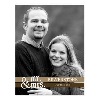Mr. & Mrs. Wedding Thank You Card - Brown