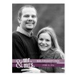 Mr. & Mrs. Wedding Thank You Card - Plum Post Card